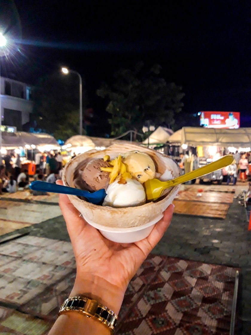 Cambodia, Phnom Penh, Siem Reap, Phnom Penh Night Market, Coconut ice cream, Cambodia BudgetTravels, Asia Travel, Indochina