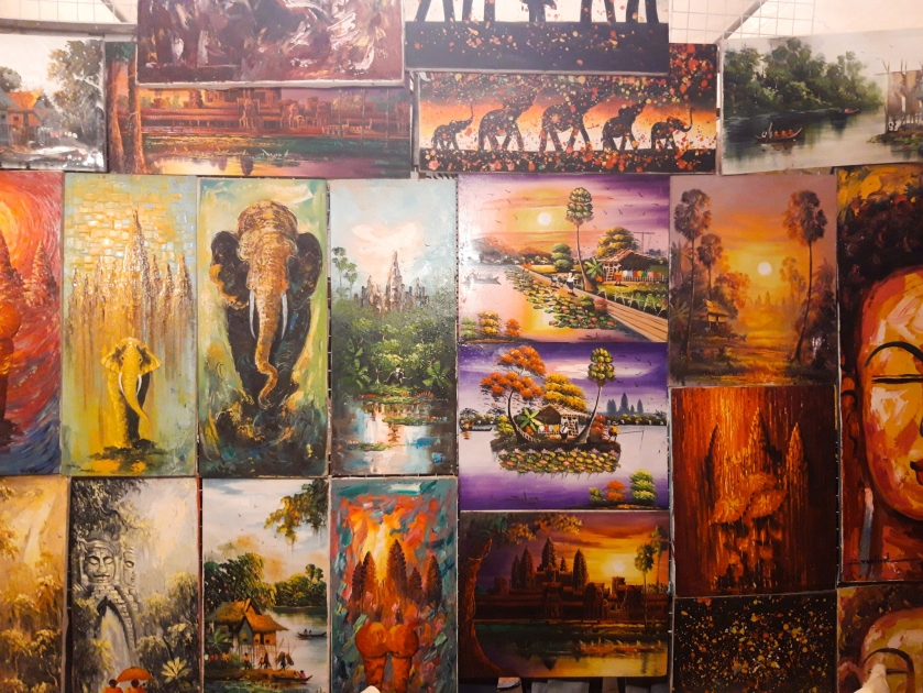 Cambodia, Phnom Penh, Siem Reap, Phnom Penh Night Market, Cambodian Art, Angkor Wat Paintings, Cambodia Budget Travel